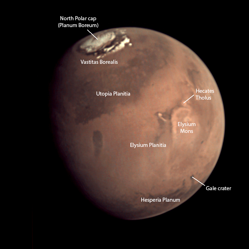 Features visible in February 29, 2016 VMC image of Mars