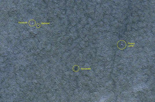 Phoenix landing site monitoring from HiRISE: December 21, 2008