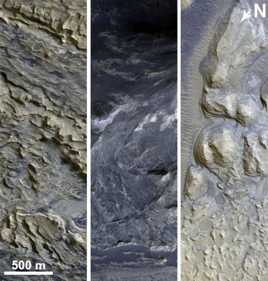 HiRISE examples of possible sedimentary layers
