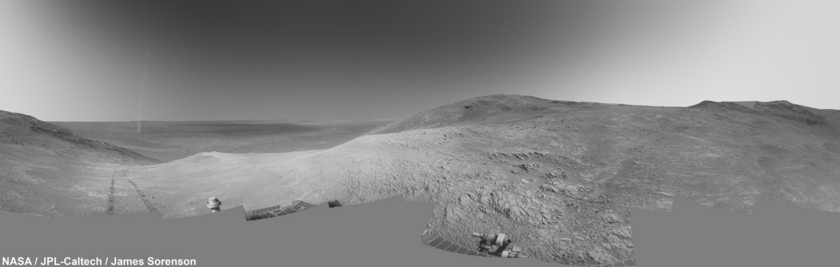Opportunity's Sol-3330-3331 Navcam 360 with Dust Devil