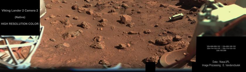 Viking Lander 2 Camera 2 (Native) High Resolution Color Mosaic