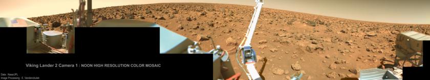 Viking Lander 2 Camera 1 Noon High Resolution Color Mosiac