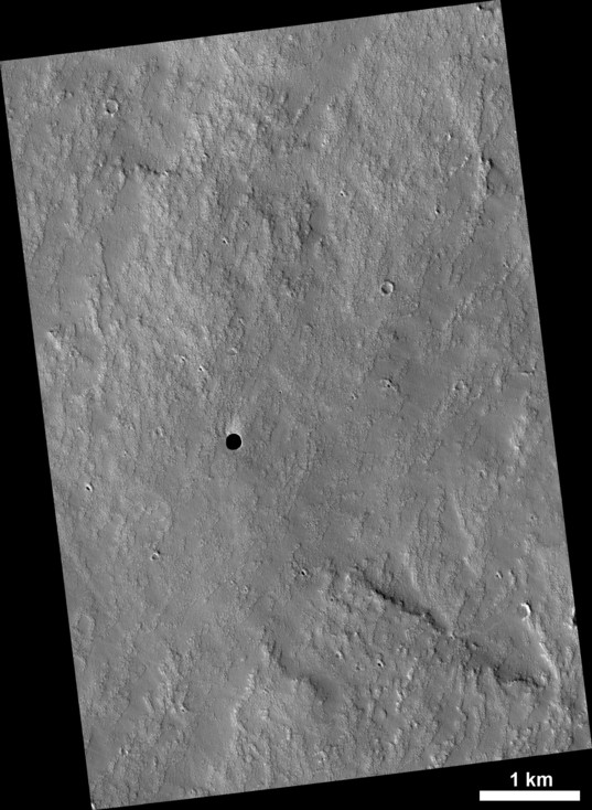 Cave entrance on the flank of Arsia Mons