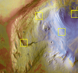 Context for detail images of Gale crater