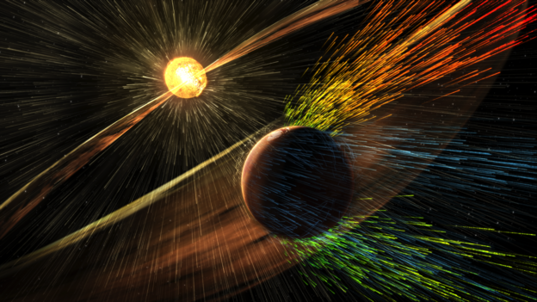 Artist's impression the loss of ions from the Martian atmosphere driven by a solar storm event