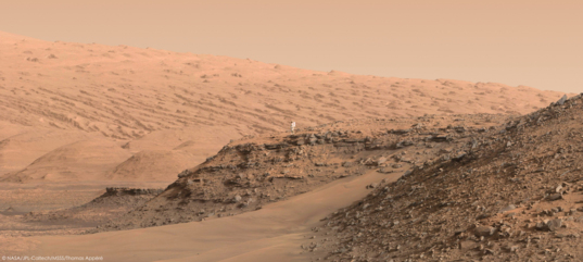 Artist's concept of an astronaut to scale with Murray buttes, Mount Sharp in the background, Curiosity sol 1419