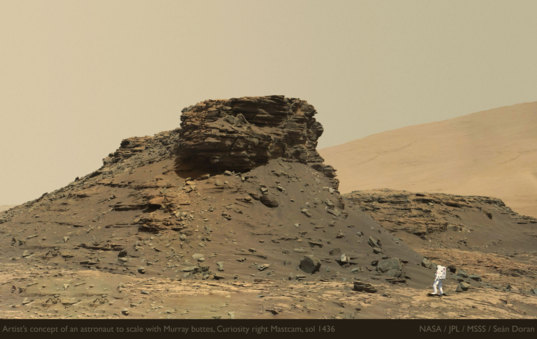 Artist's concept of an astronaut to scale with Murray buttes, Curiosity sol 1436