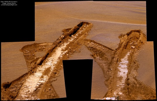 Opportunity's wheel tracks in Jammerbugt