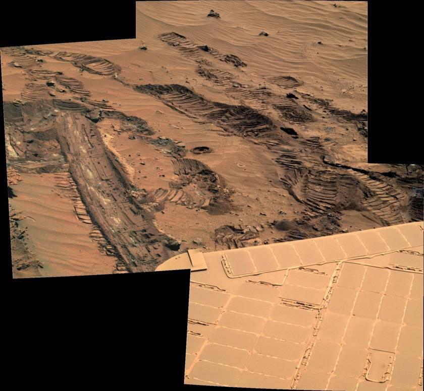 Spirit slips on the mud, sol 1042