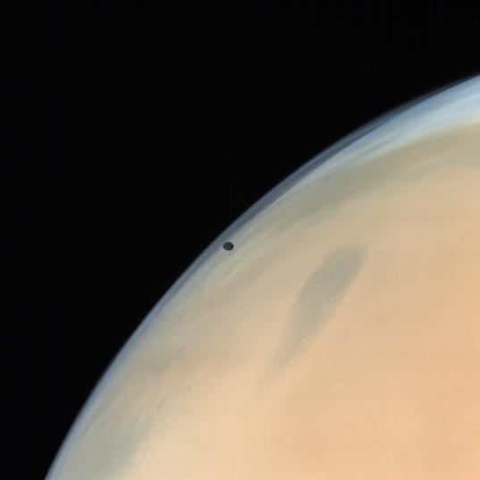 Phobos over Mars from MOM in natural color