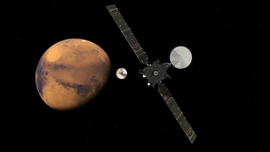 ExoMars TGO and Schiaparelli approach Mars