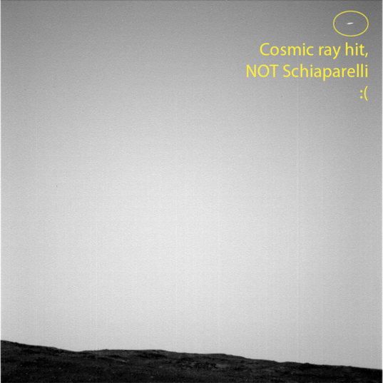 Opportunity's unsuccessful attempt to image Schiaparelli