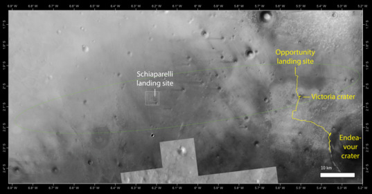 Comparison of Schiaparelli and Opportunity landing locations