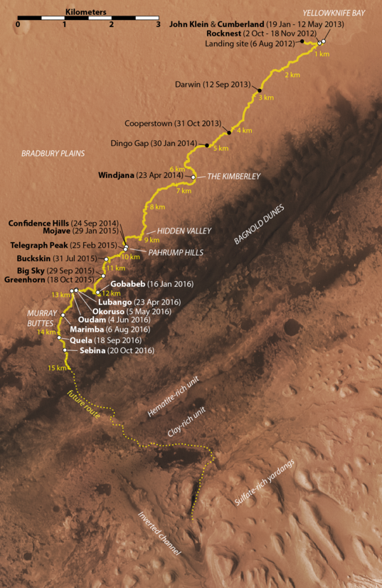 Curiosity overview route map through sol 1536