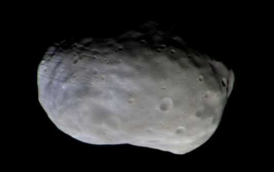 The trailing hemisphere of Phobos in color from ExoMars Trace Gas Orbiter