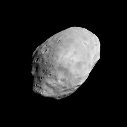 The trailing hemisphere of Phobos from Mars Global Surveyor