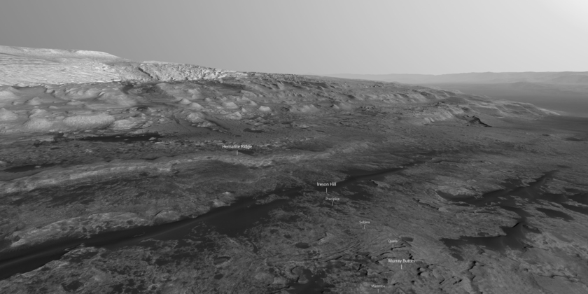 Mount Sharp northwest flank (annotated)
