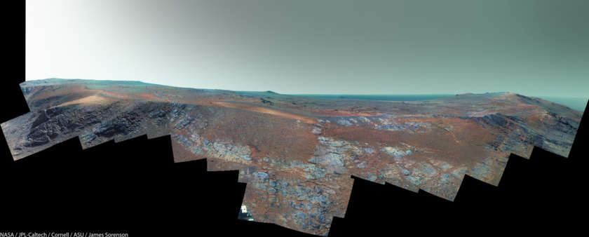 Opportunity panorama at Rocheport (false color version)