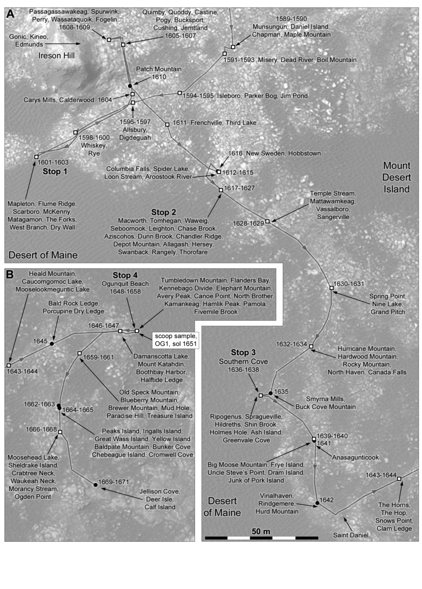 Phil Stooke's Curiosity route map #38: Ireson Hill, Ogunquit Beach and southern Bagnold dunefield (sols 1576-1671)