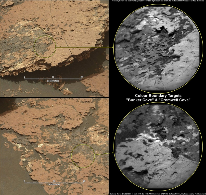 Two colorful rock targets south of Bagnold Dunes, Curiosity sol 1666