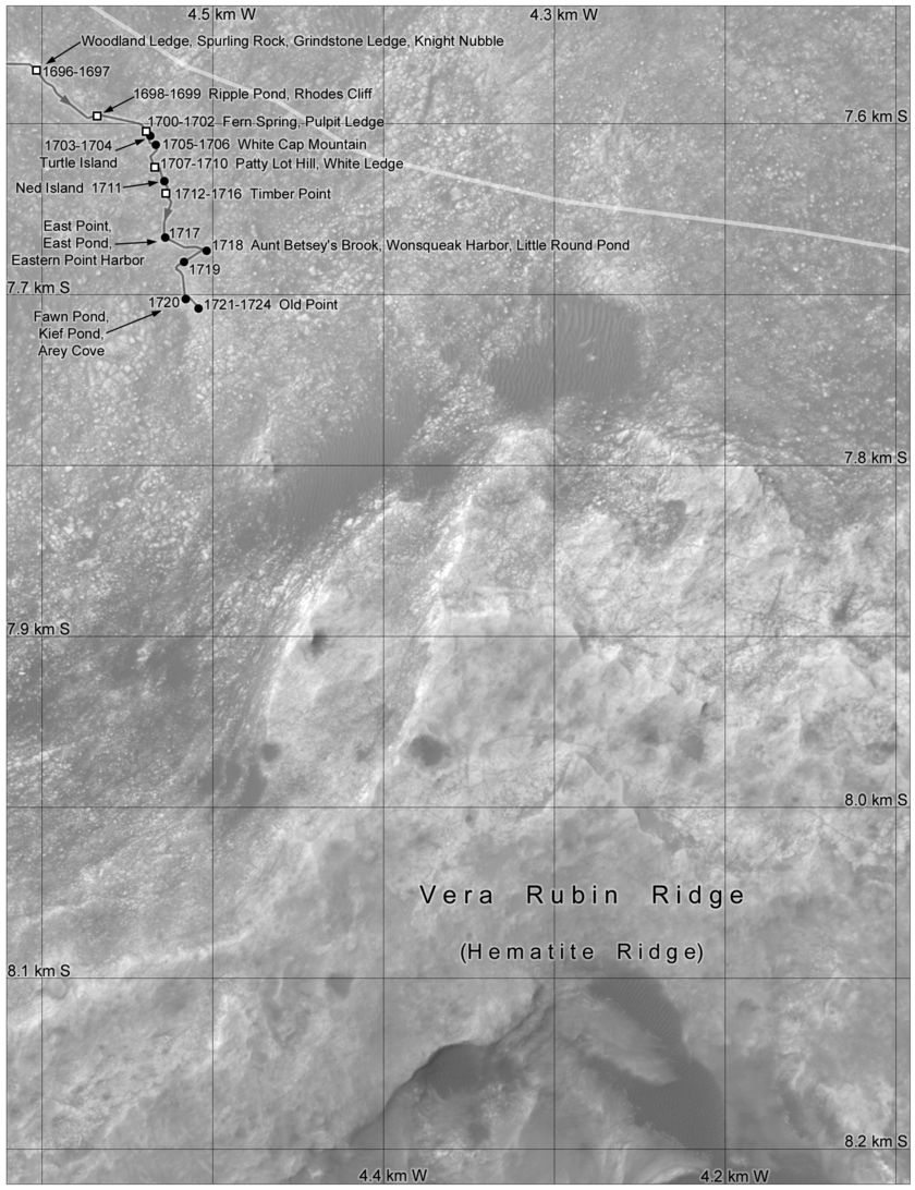 Phil Stooke's Curiosity route map: in sight of Vera Rubin Ridge, sols 1696-
