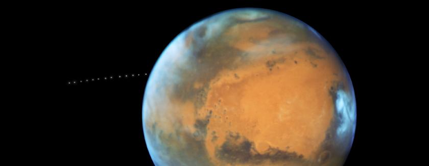 Phobos traveling around Mars
