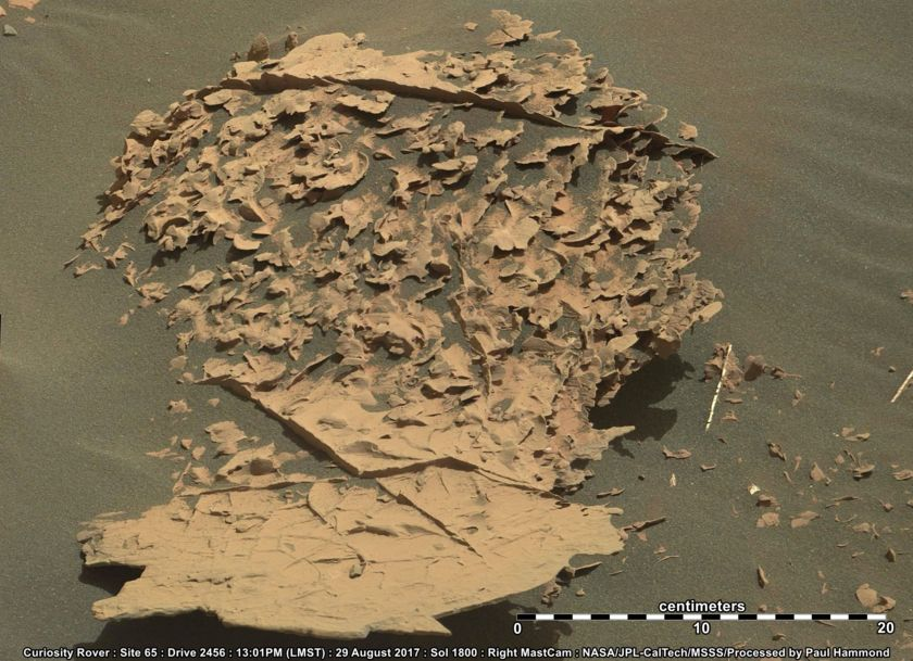 Weirdly eroded rocks at the base of Vera Rubin Ridge, Curiosity sol 1800