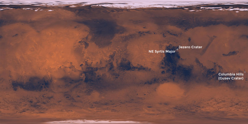 The three potential landing sites for NASA's Mars 2020 rover