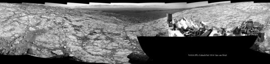 Looking backward from Vera Rubin Ridge, Curiosity sol 1814