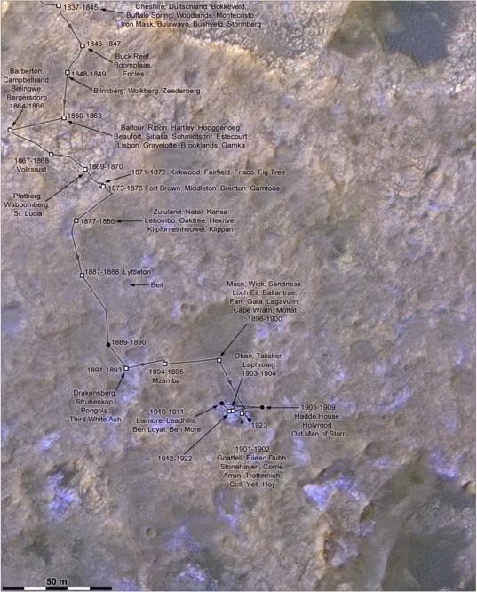Phil Stooke's Curiosity Route Map Detail: Across Vera Rubin Ridge (sols 1837-1910)