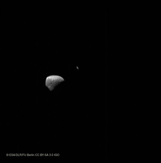 Deimos and Saturn from Mars Express
