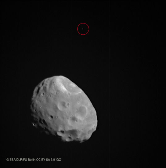Phobos and background star from Mars Express