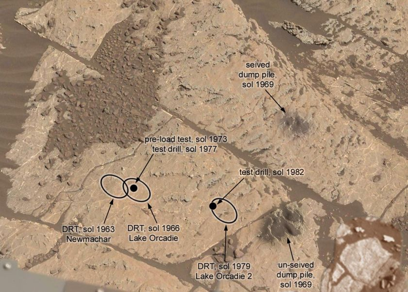 Drill workspace at Lake Orcadie as of sol 1982