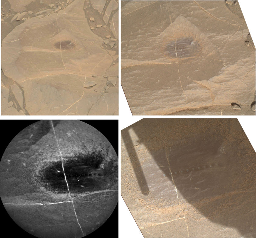 Four views of Durness, an outcrop featuring crystals or crystal voids, Curiosity sol 1995