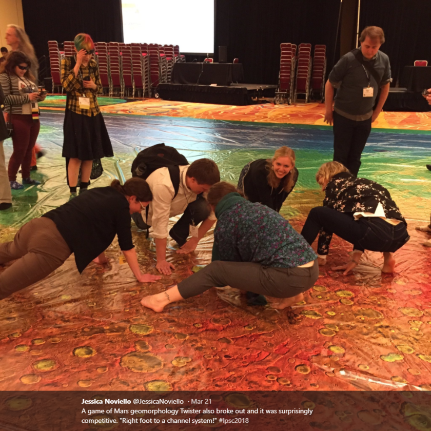 Mars scientists playing an impromptu game of Mars twister at LPSC 2018