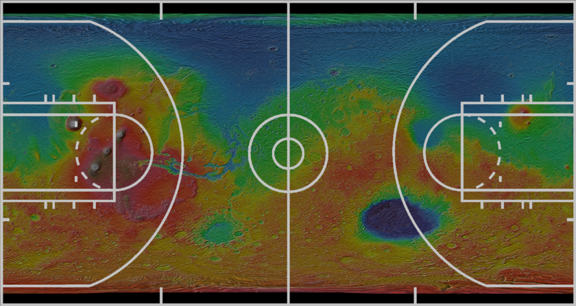 Mars on a basketball court