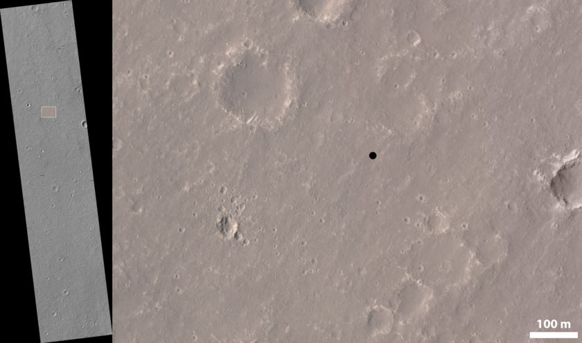 Location of the InSight landing site on HiRISE image ESP_036761_1845