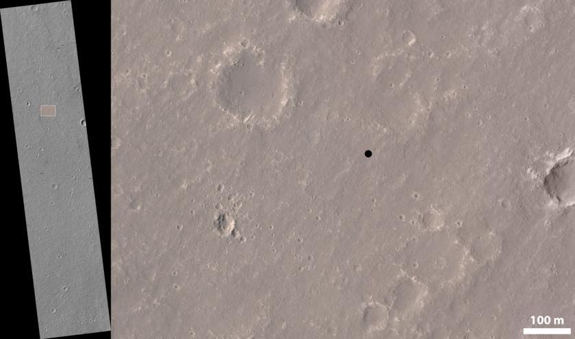 Location of the InSight landing site on HiRISE image ESP_036761_1845
