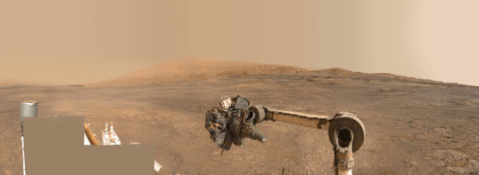 Mars Science Laboratory's arm and Mount Sharp