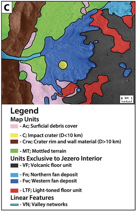 Previous Regional Map of Jezero Crater