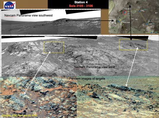 Collection of images acquired by Opportunity on sols 3105–3106 at station 4