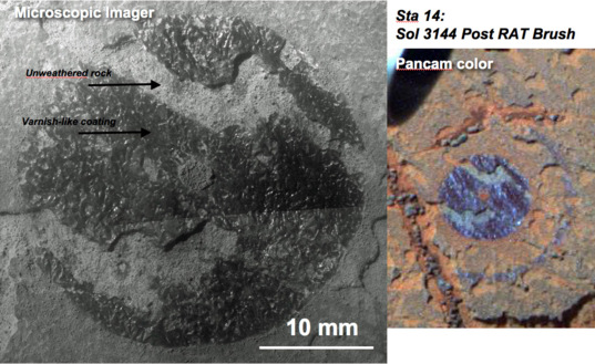 Post-RAT brush Microscopic Imager (left) and Pancam (right) images at station 14