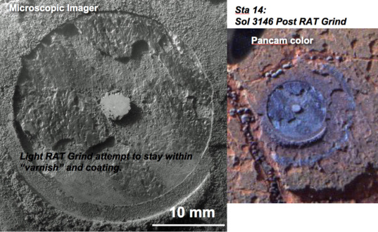 Post-RAT grind Microscopic Imager (left) and Pancam (right) images at station 14