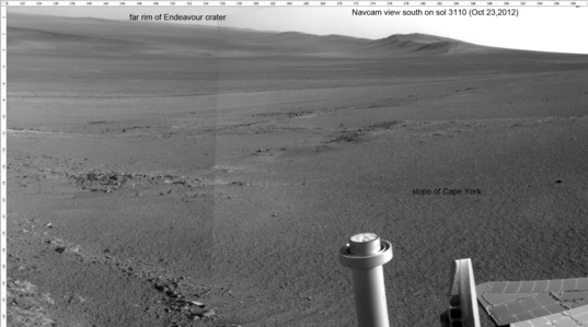 Portion of end-of-drive Navcam panorama from sol 3110
