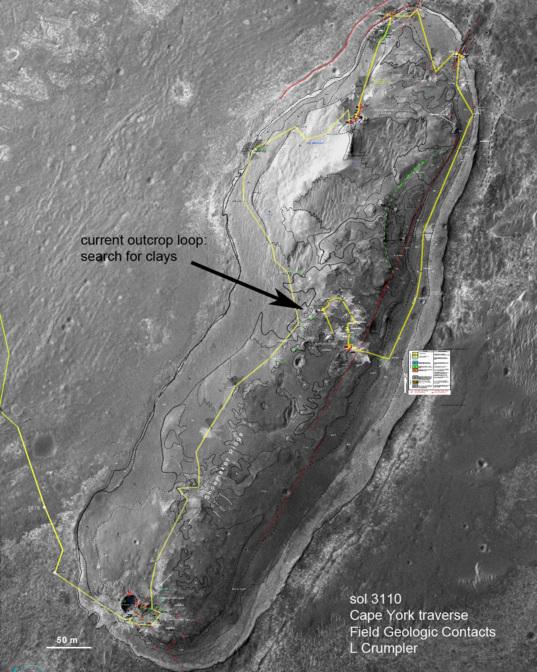 Opportunity's traverse around Cape York from sols 2681–3110