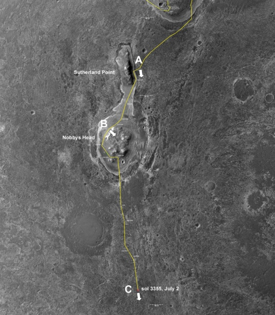 Opportunity's traverse since leaving the