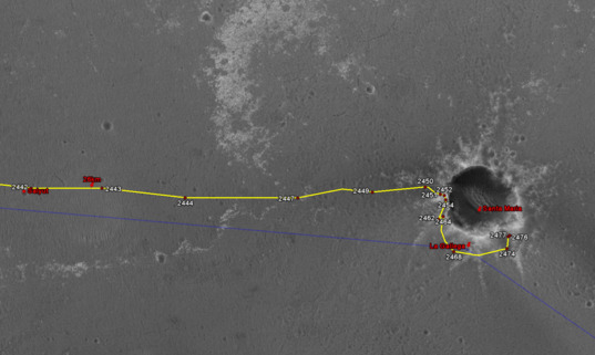 Google Mars view of Opportunity traverse as of February 9, 2011 (detail)