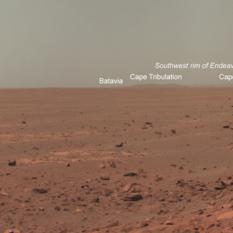 Opportunity horizon panorama, sol 2140