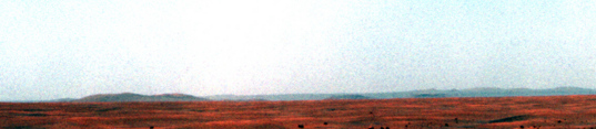 Opportunity horizon panorama, sol 2140 (contrast-enhanced horizon detail)