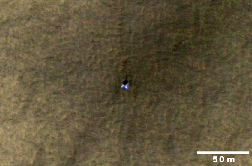 An icy crater on Mars